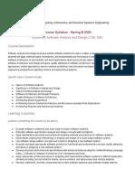 Software Analysis and Design - Syllabus