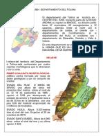 RESUMEN DEL BELLO DEPARTAMENTO DEL TOLIMA