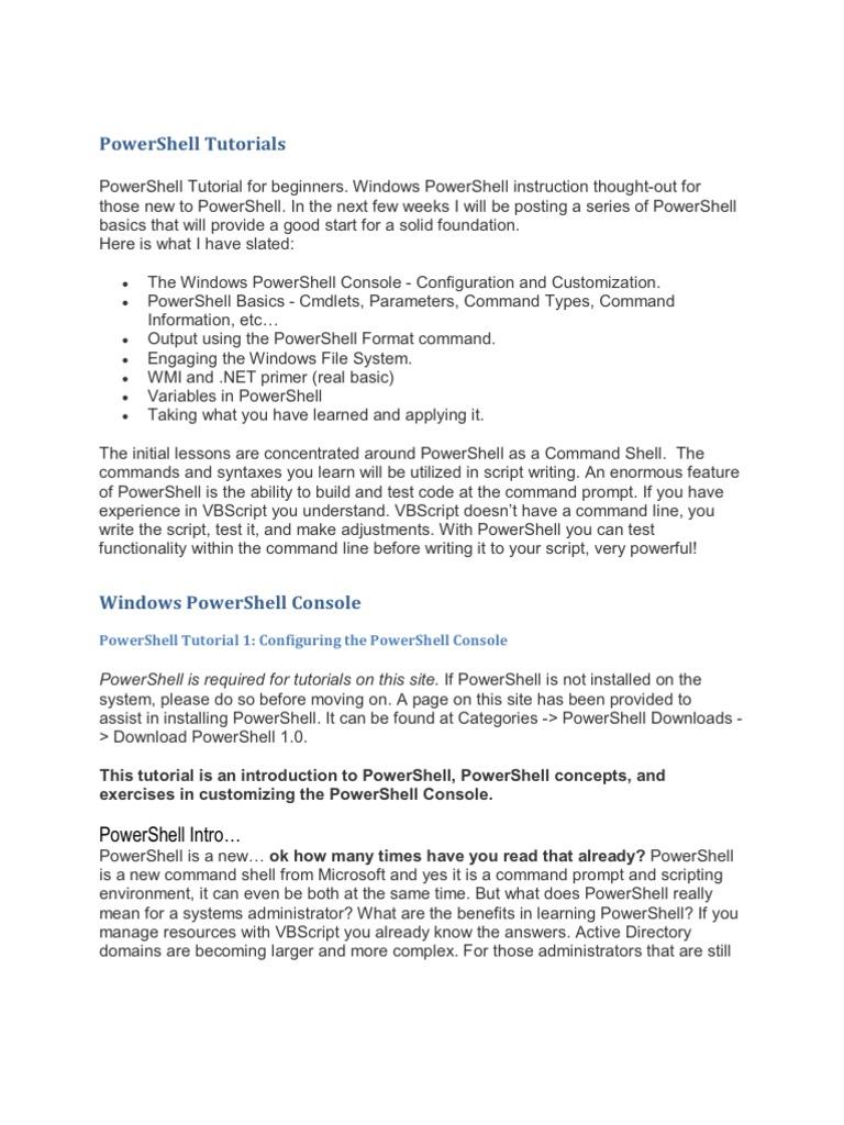 powershell tutorials   command line interface   parameter (computer