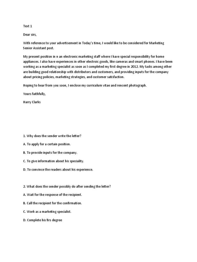 Contoh Soal Pilihan Ganda Bahasa Inggris Tentang Application Letter Dunia Sosial