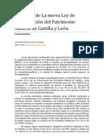 Comentarios Borrador de la Ley de Conservación del Patrimonio Natural de Castilla y León. José Andrés Martínez García.