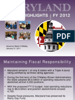 MD Governor's Budget Proposal, FY2012