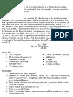 AP Chemistry - Acid Dissociation Constant Ka Lab