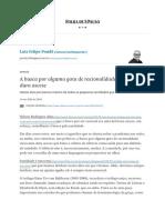 A busca por alguma gota de racionalidade virou uma dura ascese - 31_05_2020 - Luiz Felipe Pondé - Folha.pdf