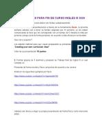 Orientaciones fin de curso Ingles III 2020
