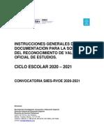 Instrucciones generales del Proceso RVOE  2020-2021