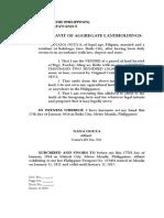 Affidavit of Agregate Landholdings