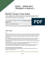 Monitor hunter's fact sheet