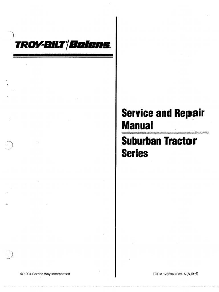bolens suburban owners manual