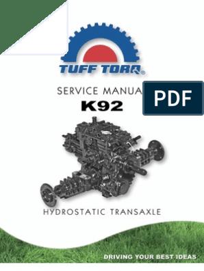 Tuff-Torq k92 Service Manual | Transmission (Mechanics) | Valve