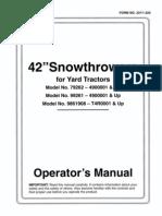 Toro WheelHorse Snow Blower Manual Model 79262 for 260 series