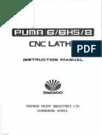 Daewoo PUMA 6HS CNC Lathe Instruction Manuall