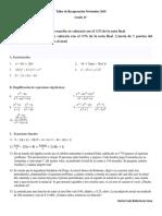Taller de Recuperación de Matemáticas 11° - 2018