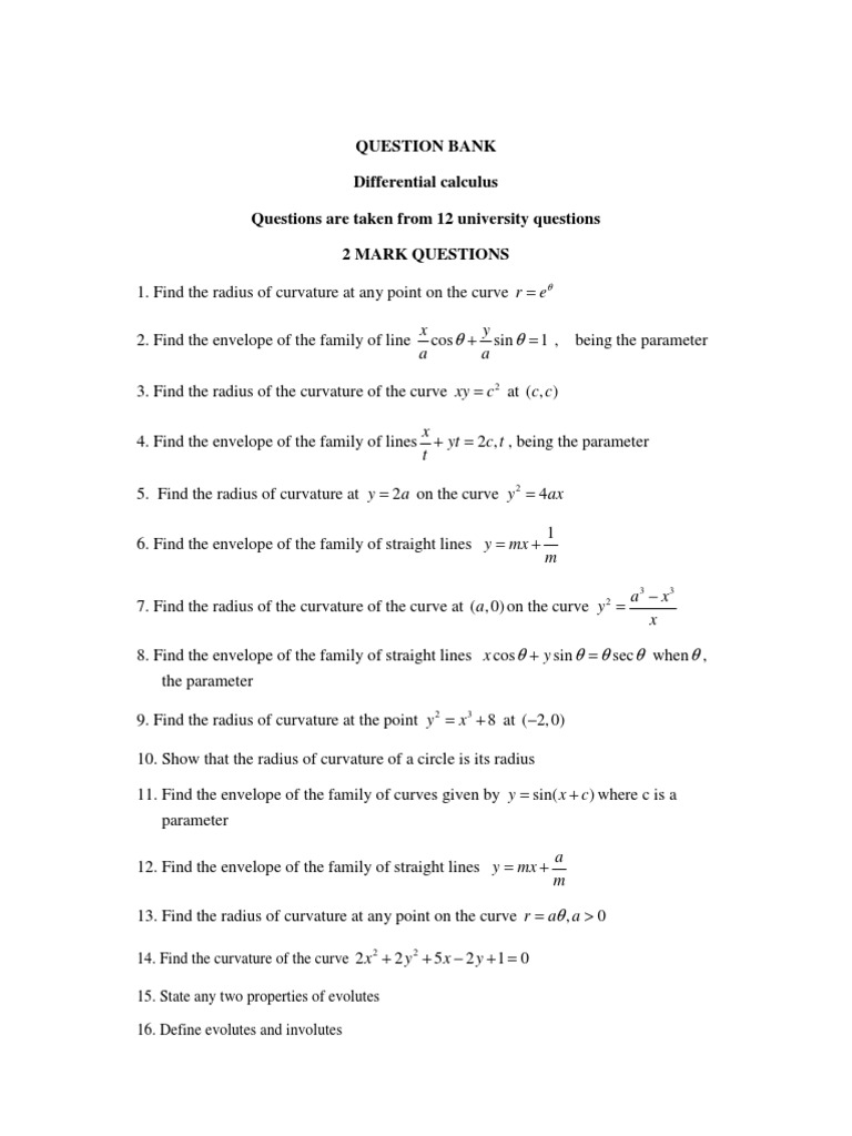 Question Bank Differential calculus Questions are taken from 12