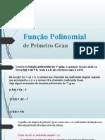 Função Polinomial de primeiro grau