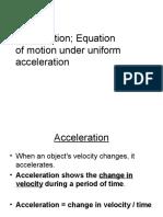 acceleration,Equation of motion under uniform acceleration