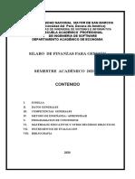 Silabo de FINANZAS PARA GESTION 2020