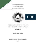 FEDERALISMO, REGIONALISMO E MUNICIPALISMO EM PORTUGAL - José Luís Cavaco Monteiro