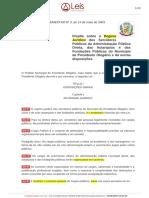 LC 3 Regime Jurídico - Leis Municipais