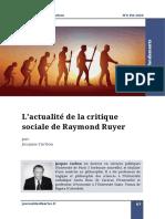 Carbou L'actualité de la critique sociale de Raymond Ruyer