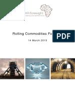 Afriforesight Rolling Commodity Forecast 2019