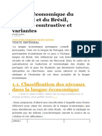 Langue économique du Portugal et du Brésil