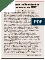 21-Jun-2012. Dicen abriría Pemex a IP.