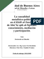 La Causalidad Metafísico-política en El Kitab Al Yanabi de Abu Ya, Conocimiento, Meditación y Participación