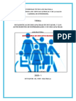 ESTADISTICAS DE DISCAPACIDAD EN ECUADOR, Y LOS ANTECEDENTES DE ENFERMEDADES CON DISCAPACIDAD