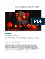 October 31 is Halloween and is now celebrated in many countries around the world.docx