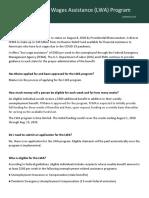 FAQ Lost Wages Assistance Program
