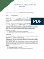 MODELO Derecho de Petición reliquidación de pensión