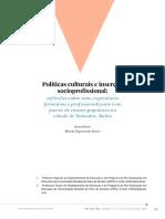 Políticas culturais e inserção socioprofissional:ef lexões sobre uma experiência formativa e profissionalizante com jovens de classes populares
