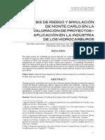 Artículo-ANALISIS DE RIESGO Y SIMULACiON de Monte CARLO