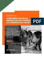 Nota técnica - O RETORNO ÀS AULAS PRESENCIAIS NO CONTEXTO DA PANDEMIA DA COVID-19.