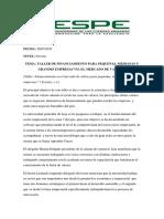 TALLER DE FINANCIAMIENTO CON LA BOLSA DE VALORES