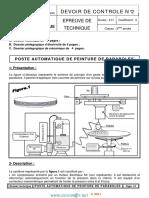 Devoir de Contrôle N°2 - Génie mécanique poste automatique de peinture de paraboles poste automatique de peinture - 3ème Technique (2013-2014) Mr mlaouhi slaheddine