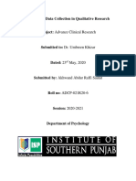 Methods of Data Collection in Qualitative Research