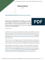 Bolsonaro finalmente realizou seu projeto de juventude_ colocou uma bomba nos quartéis - 19_07_2020 - Celso Rocha de Barros - Folha