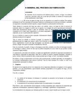 DESCRIPCIÓN GENERAL DEL PROCESO DE FABRICACIÓN