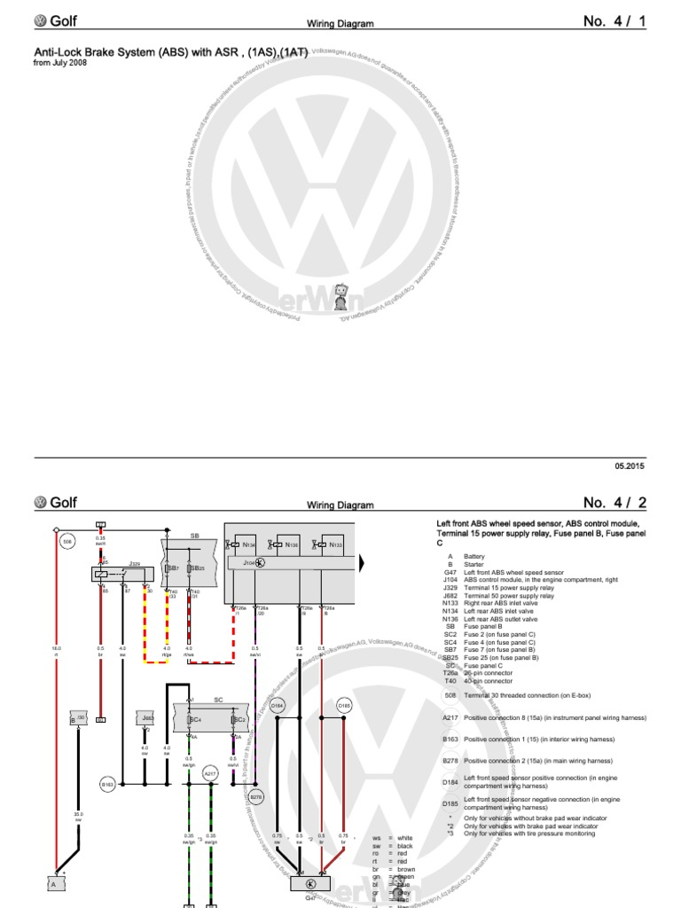 Golf 40 Wiring Diagrams and Component Locations.pdf   Anti Lock ...