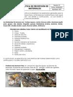 POLITICA DE RECP DE MATERIALES