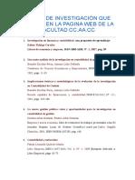 LIBROS DE INVESTIGACIÓN QUE EXISTEN EN LA PAGINA WEB DE LA FACULTAD CC
