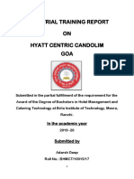 INDUSTRIAL TRAINING REPORT ON HYATT CENTRIC GOA PDF