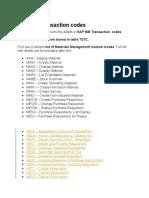 List of SAP MM Transaction codes