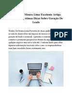 Wesley de Moura Lima Excelente Artigo Com Muitas Ótimas Dicas Sobre Geração de Leads