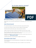 What Type of Solar Panel to Choose