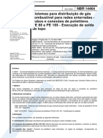14464-Sistemas Para Distribuicao de Gas Combustivel Para Redes Enterradas Tubos Polietileno (Exec de Solda de topo)