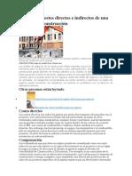 Lista de los costos directos e indirectos de una empresa de construcción