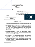 Complaint for collectio  of a sum of money with damages based on loan agreement